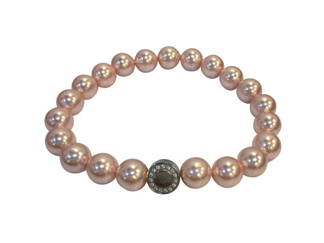 Stainless Steel White Cubic Zirconia Opening Magnetic Clasp On 7mm Pink Synthetic Pearl Bracelet