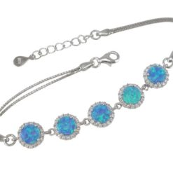 Sterling Silver 9mm Round Blue Synthetic Opal & White Cubic Zirconia Bracelet 17-19cm