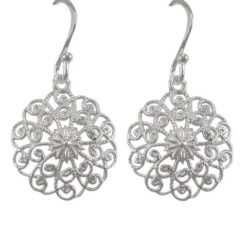 Sterling Silver 15mm Round Fine Filigree Drop Earrings