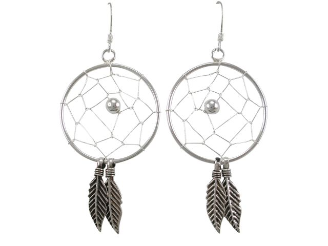 Sterling Silver 25x40mm Dream Catcher Drop Earrings