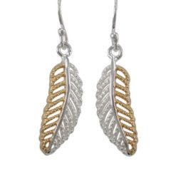 Sterling Silver & Gold Plated 20x8mm Leaf Drop Earrings