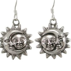 Sterling Silver 16mm Sun & Moon Drop Earrings