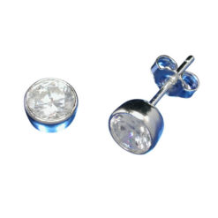 Sterling Silver 5mm Round Bezel Set White Cubic Zirconia Stud Earrings
