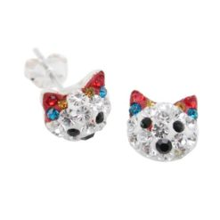 Sterling Silver 8mm Multi Colour Crystal Cat Stud Earrings