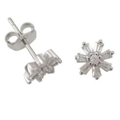 Sterling Silver 7mm White Cubic Zirconia Tapered Baguette Flower Stud Earrings