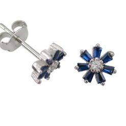 Sterling Silver 7mm Blue Cubic Zirconia Tapered Baguette Flower Stud Earrings
