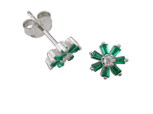 Sterling Silver 7mm Green Cubic Zirconia Tapered Baguette Flower Stud Earrings