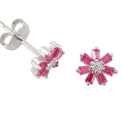 Sterling Silver 7mm Red Cubic Zirconia Tapered Baguette Flower Stud Earrings