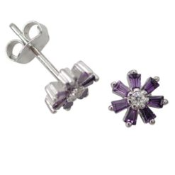 Sterling Silver 7mm Purple Cubic Zirconia Tapered Baguette Flower Stud Earrings