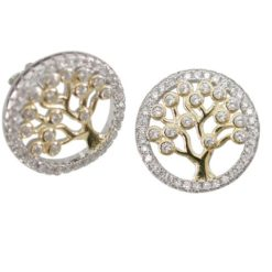 Sterling Silver & Gold Plate 14mm White Cubic Zirconia Tree Of Life Stud Earrings