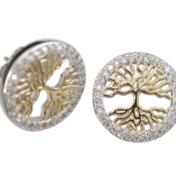 Sterling Silver & Gold Plate 13mm White Cubic Zirconia Tree Of Life Stud Earrings