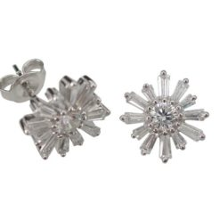 Sterling Silver 11mm White Tapered Baguette Cubic Zirconia Cluster Flower Stud Earrings