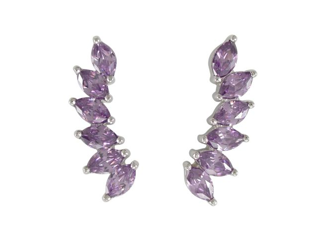 Sterling Silver 21x6mm Marquise Purple Cubic Zirconia Up The Ear Earrings