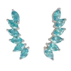 Sterling Silver 21x6mm Marquise Aqua Cubic Zirconia Up The Ear Earrings