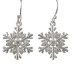 Sterling Silver 15mm White Cubic Zirconia Snowflake Drop Earrings