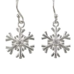 Sterling Silver 12mm White Cubic Zirconia Snowflake Drop Earrings