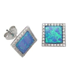 Sterling Silver 10mm Square Blue Synthetic Opal & Cubic Zirconia Stud Earrings