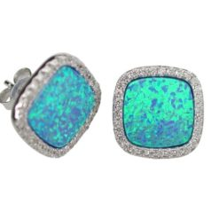 Sterling Silver 13mm Cushion Blue Synthetic Opal & Cubic Zirconia Stud Earrings