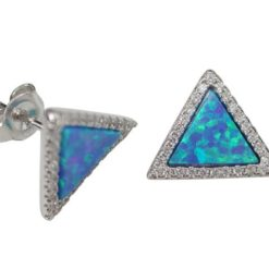 Sterling Silver 12mm Triangle Blue Synthetic Opal & Cubic Zirconia Stud Earrings