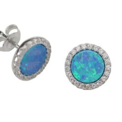 Sterling Silver 10mm Round Blue Synthetic Opal & Cubic Zirconia Stud Earrings