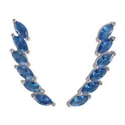 Sterling Silver 22x5mm Marquise Blue Cubic Zirconia Up The Ear Earrings