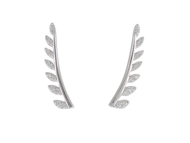 Sterling Silver 18x4mm White Cubic Zirconia Leaf Design Up The Ear Earrings