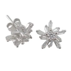 Sterling Silver 10mm White Tapered Baguette Cubic Zirconia Cluster Stud Earrings