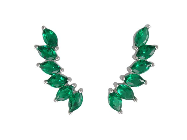 Sterling Silver 21x6mm Marquise Green Cubic Zirconia Up The Ear Earrings