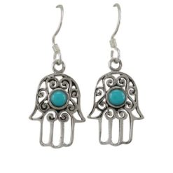 Sterling Silver 16x12mm Blue Turquoise Hamsa Hand (hand Of Miriam) Drop Earrings