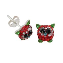 Sterling Silver 8mm Red & Green Crystal Cute Bird Stud Earrings
