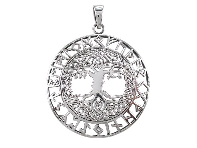 Sterling Silver 38mm Celtic Tree Of Life & Rune Symbol Pendant