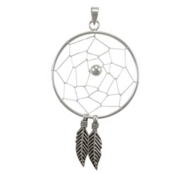 Sterling Silver 29x43mm Dream Catcher Pendant