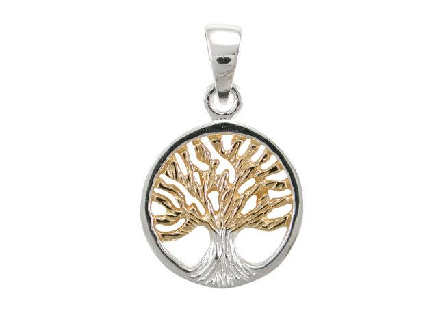 Sterling Silver & Gold Plated 14mm Tree Of Life Pendant