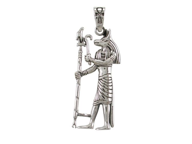 Sterling Silver 40x18mm Egyptian Anubis Pendant