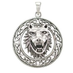 Sterling Silver 34mm Celtic 3d Wolf Pendant