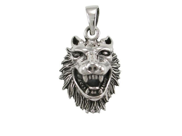 Sterling Silver 25x24mm 3d Wolf Pendant