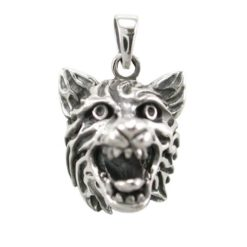 Sterling Silver 23x18mm 3d Wolf Pendant