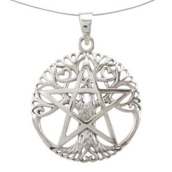Sterling Silver 29mm Pentagram & Tree Of Life Pendant