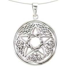 Sterling Silver 28mm Round Celtic Pentagram Pendant