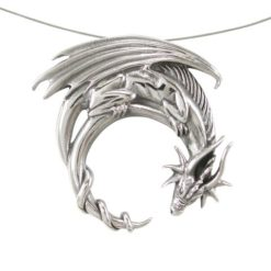 Sterling Silver 30mm Dragon Pendant