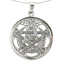 Sterling Silver 30mm Celtic, Pentagram,sun & Moon Pendant