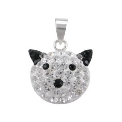 Sterling Silver 16x13mm Black Crystal Cat Pendant