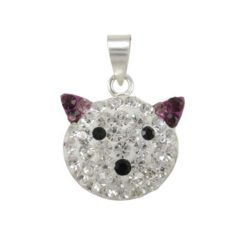 Sterling Silver 16x13mm Purple Crystal Cat Pendant