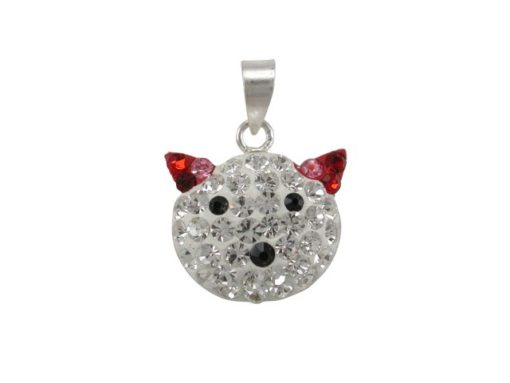 Sterling Silver 16x13mm Red Crystal Cat Pendant