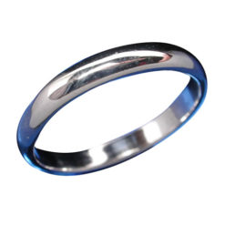 Sterling Silver 3mm Half Round Wedder Band Ring
