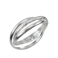 Sterling Silver 3mm One Textured Band Russian Wedder Ring
