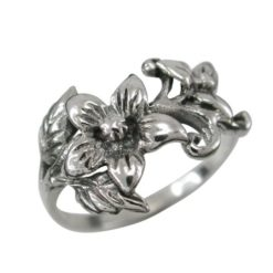 Sterling Silver 12mm Flowers Ring