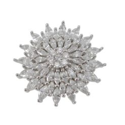 Sterling Silver 22mm White Cubic Zirconia Marquise Cluster Ring