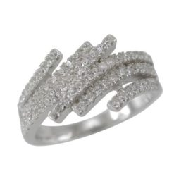 Sterling Silver 9mm White Cubic Zirconia Marquise Crossover Ring