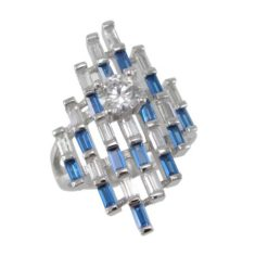 Sterling Silver 26mm Blue & White Baguette Cubic Zirconia Cluster Ring